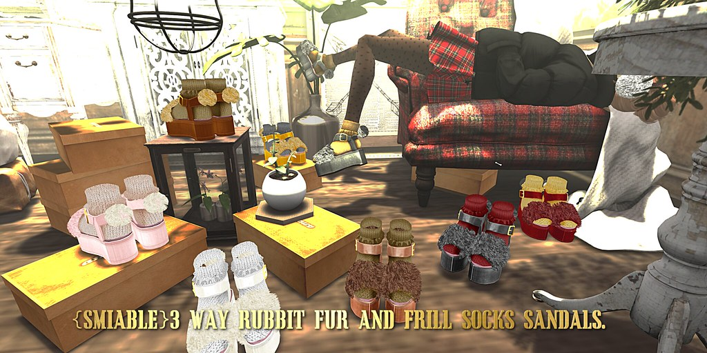 {amiable}3WAY Rubbit Fur&Frill Socks Winter Sandals@the Shiny Shabby(50%OFF SALE). - SecondLifeHub.com