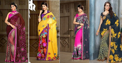 Fashionable Floral Print Sarees