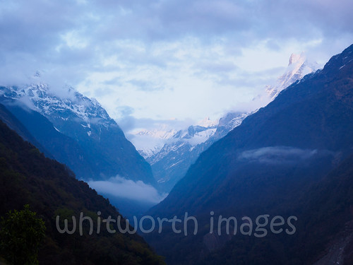 nepal snow mountains trekking dark landscape outdoors evening asia view nopeople snowcapped valley himalayas annapurnas kaski indiansubcontinent sinuwa himchuli annapurnaconservationarea
