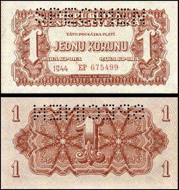 1 K Jedna koruna Československo 1944, specimen