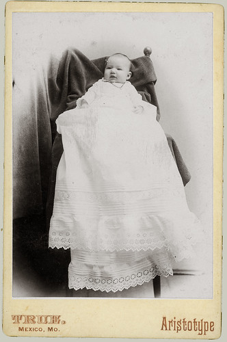 Cabinet Card baby in christening gown