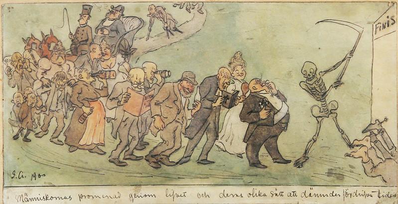 """Ivar Arosenius -""""Människans promenad genom lifvet och deras olika sätt därunder fördriva tiden"""". Akvarell och tusch."""