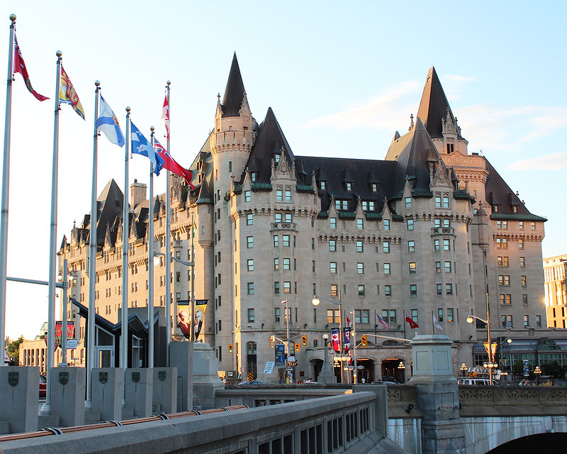 Image of the Fairmont Chateau Laurier during a haunted walk Ottawa tour