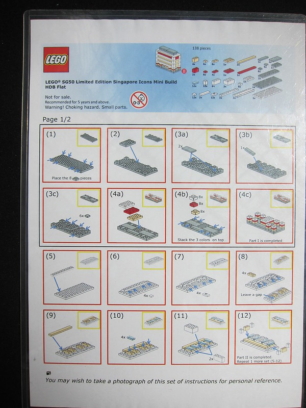 LEGO SG50 Limited Edition Singapore Icons Mini Build - HDB Flat - Instructions - 1 of 2