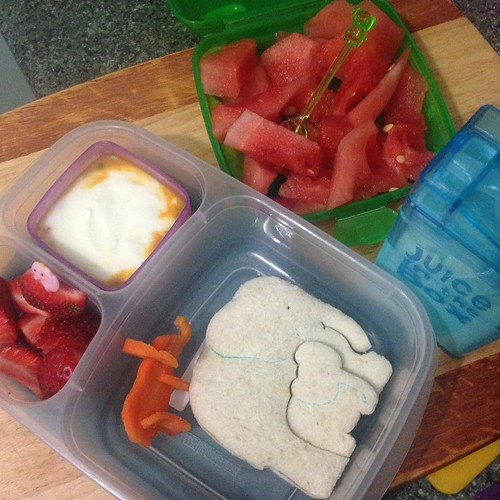 Loving inspiration… #worldelephantday today but the girls will be celebrating it with their lunches tomorrow ☺️. @easylunchboxes with LunchPunch. Carrot elephant. Strawberries with elephant pick. Yoghurt with passion fruit. Watermelon with #elephan