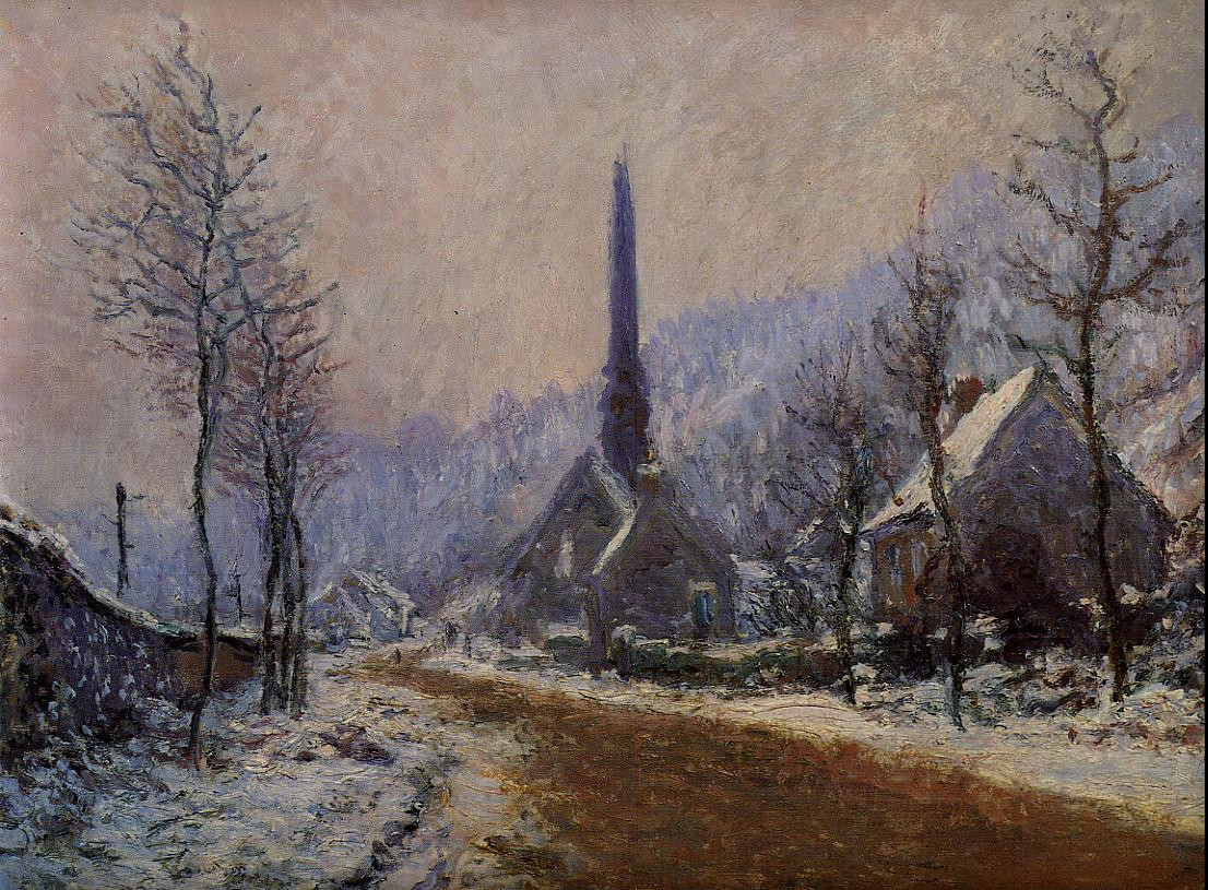 Church at Jeufosse, Snowy Weather by Claude Oscar Monet - 1893