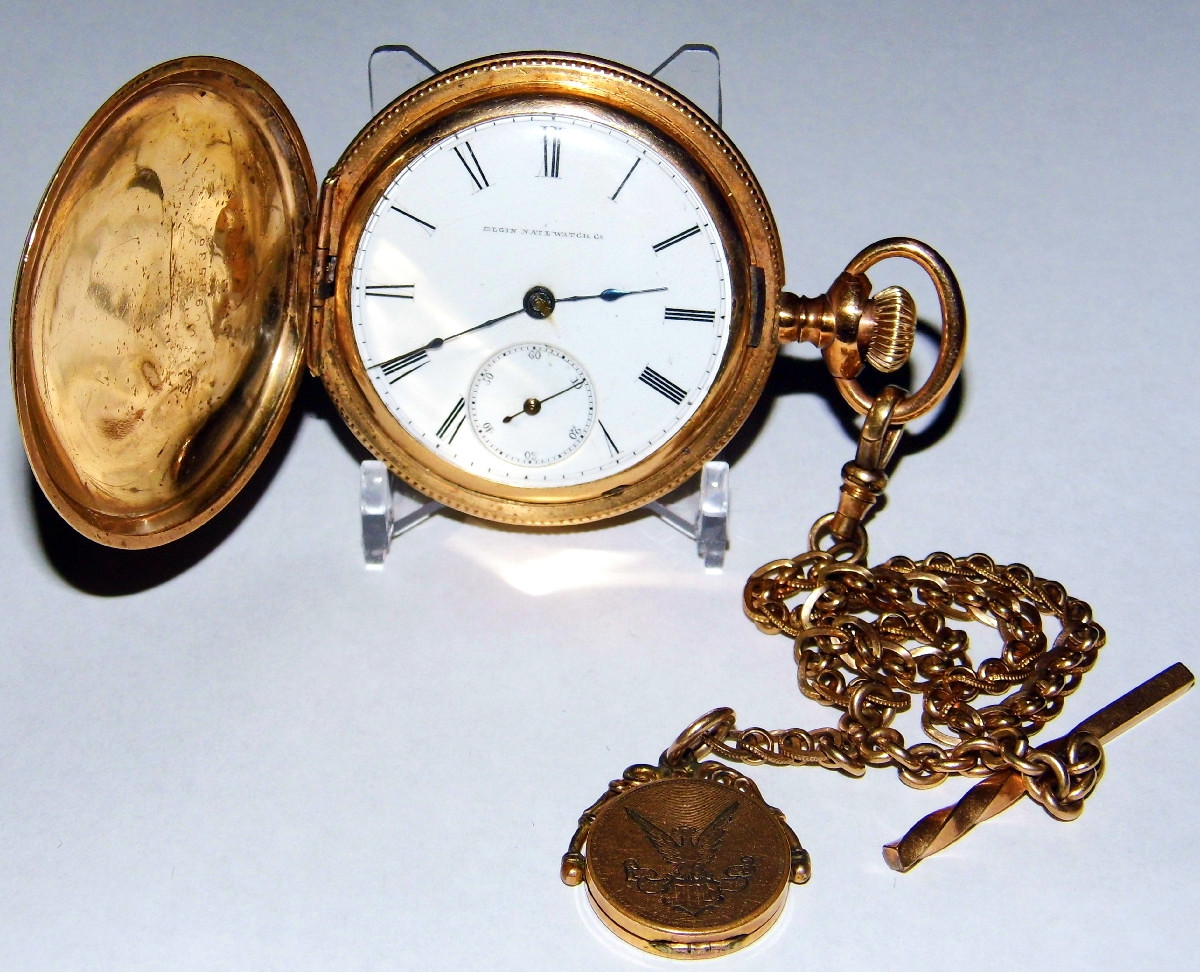 Vintage Elgin National Watch Co. Pocket Watch with Hunter Case and Gold Chain, Circa 1901. Credit Joe Haupt