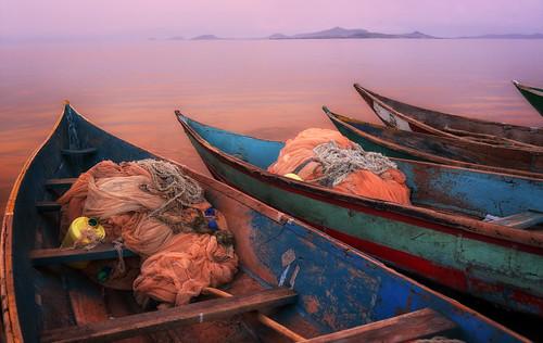 Colorful fishing boats on Lake Victoria, Kenya
