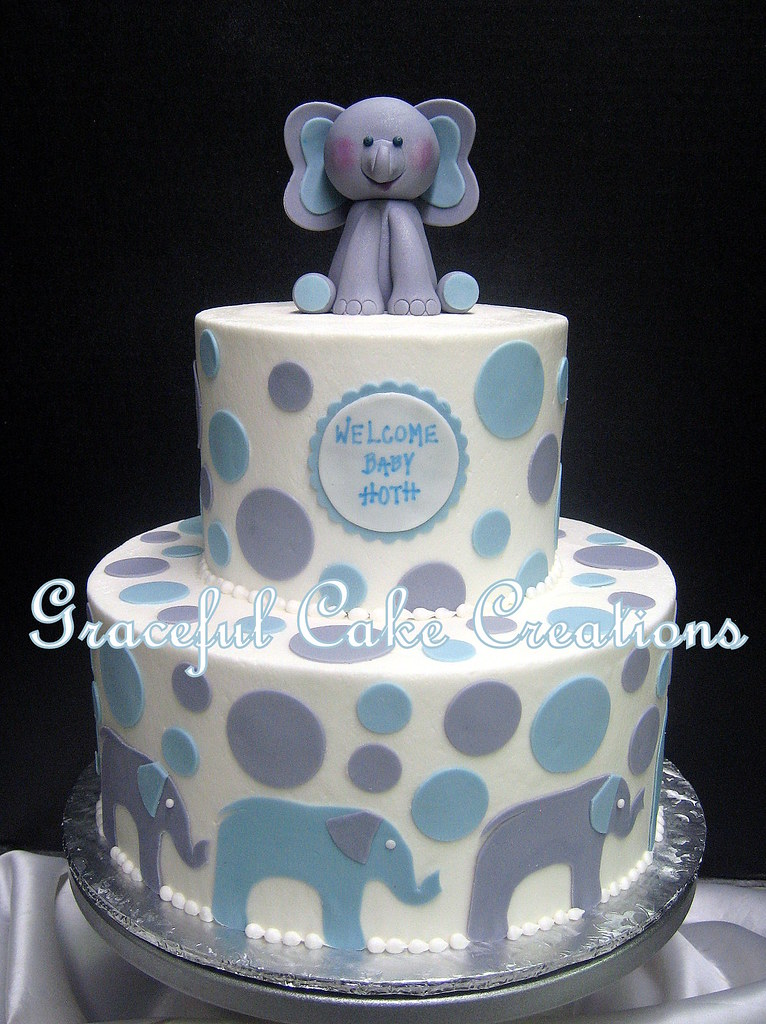 Elephant Themed Baby Shower Cake With A Fondant Elephant T Flickr