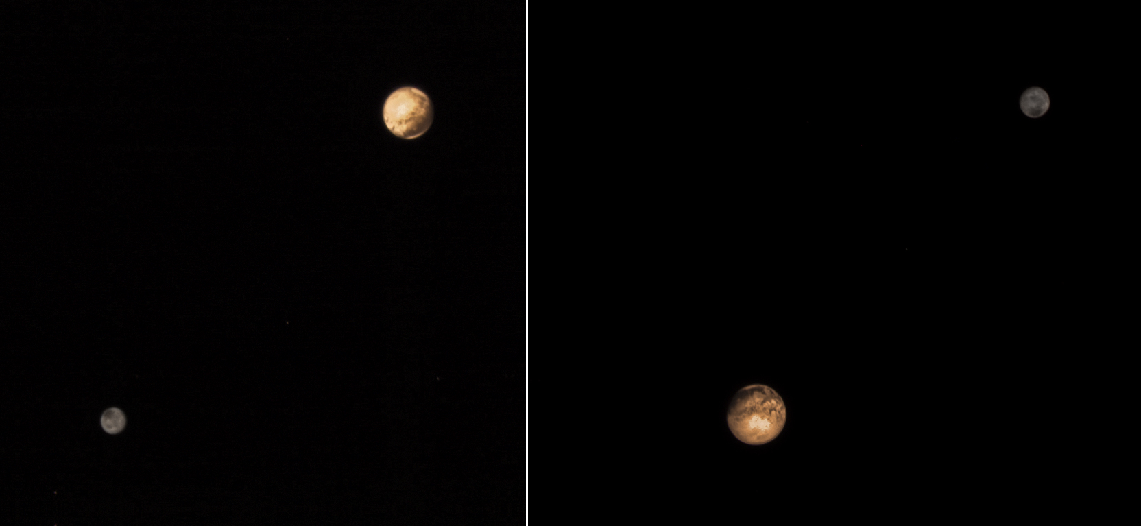 Pluto and Charon LORRI 2015-07-09 (virtual color)