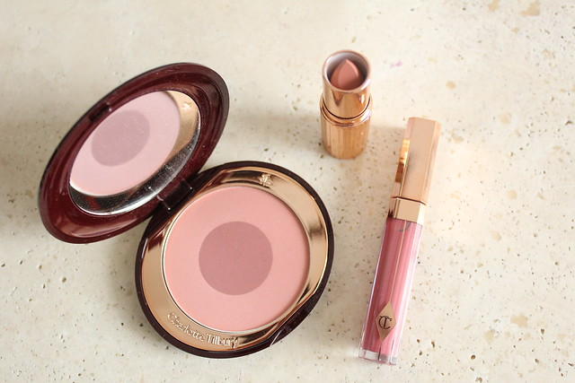 charlotte tilbury blush in sex on fire with lipstick in hepburn honey and gloss in high sosciety