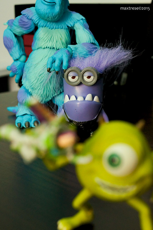 Evil minion with Monster's Inc. Sully and Mike