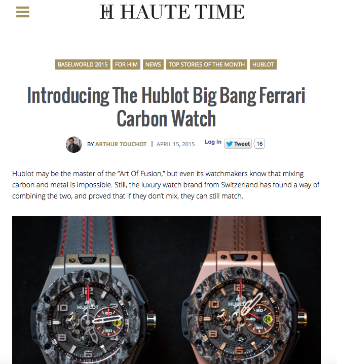 Haute Time hublot ferrari big bang