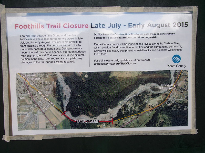 Foothills Trail Closure Information: The trail was closed recently for levee work, but was open again by the time I was on it.