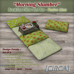 Morning Slumber - Breakfast Pillow Bed Set - Festive Lime