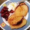 Post run brunch: banana pancakes, fresh sour cherries, greek yoghurt and blossom honey :)
