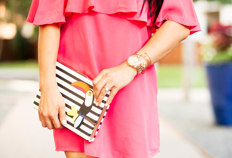 cute & little blog | pink off-shoulder ruffle dress, kate spade toucan striped clutch, gold strappy gladiator sandals, baublebar statement earrings | spring summer outfit