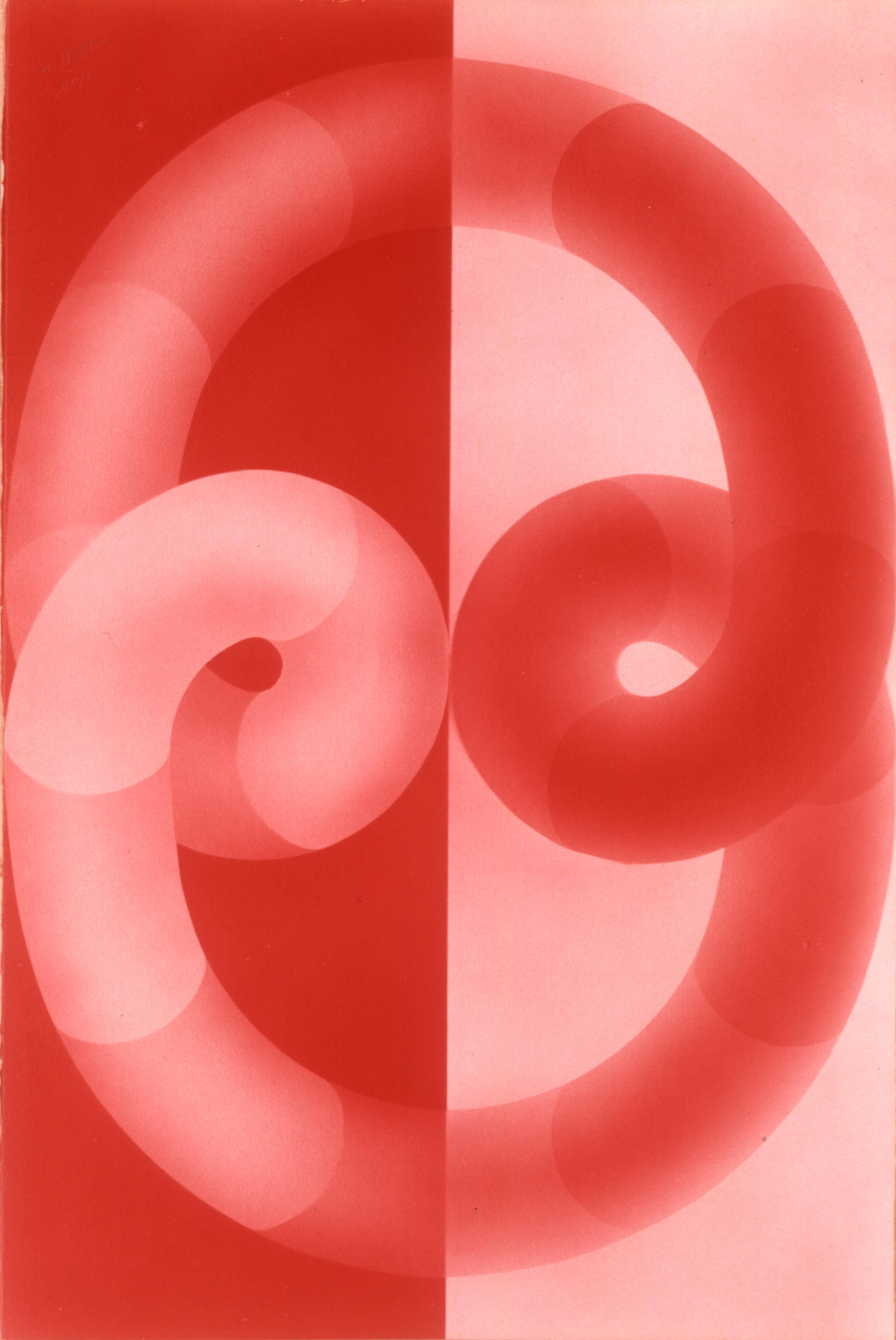 Nódulo (tubos vermelhos) Autor: Savério Castellano Ano: 1972  Técnica: Aerografia  Dimensões: 104cm x 70cm