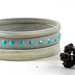 "I've just listed this #handmade #ceramic bangle stack in my #Etsy store - here's what a happy customer had to say about a similar bangle stack :  ""Gorgeous bangles. So different; I love the organic feel of them; the turquoise decorations gives them a dram"