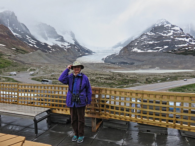 Mary Lou at Athabasca Glacier 20150619