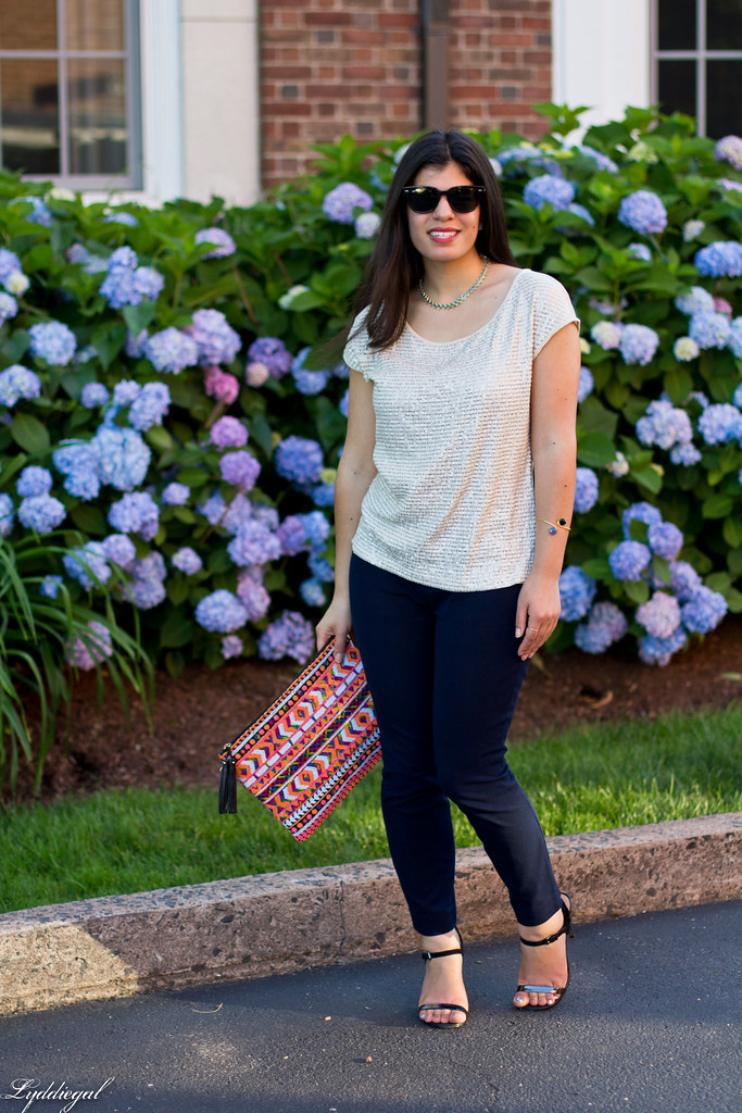 sequined top, navy pants, aztec clutch-4.jpg