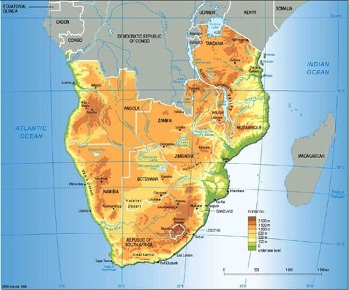 Elevation Map Of Africa With Key.Southern Africa Topographic And Political Map Grid Arendal