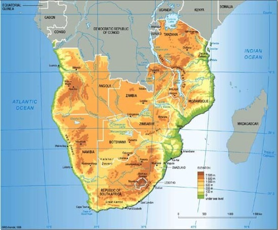 Southern Africa topographic and political map GRIDArendal