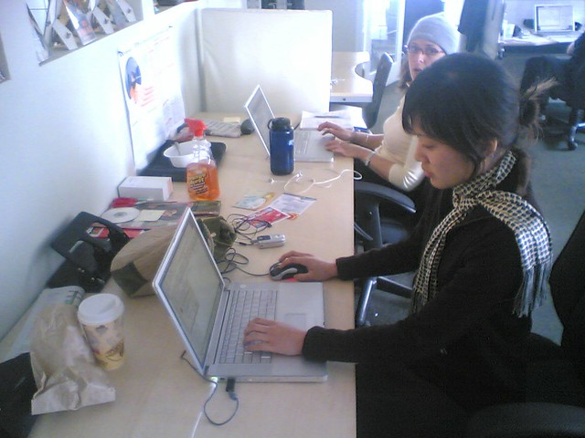 Cathy Wang and Megan Cole Working Hard