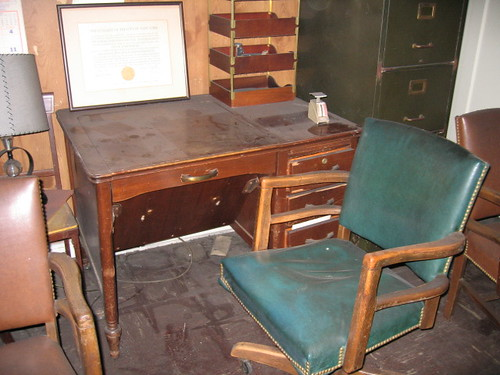 Vintage Work Table & Leather Chair (Typewriter Stored)