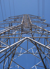 electrical supply, overhead power line, line, transmission tower, electricity, blue, tower,