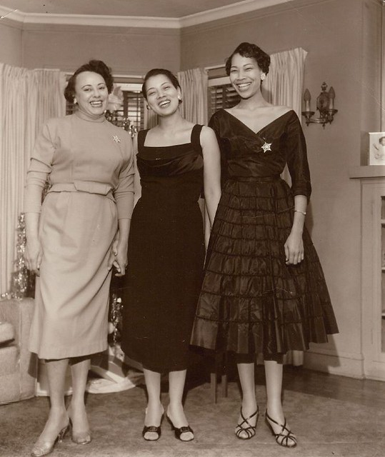 Carolyn and Dency with Friend - c1950