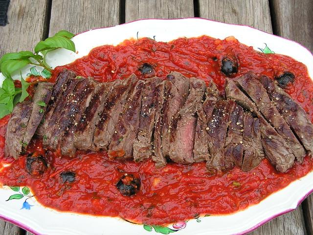 entrecote in tomatensaus
