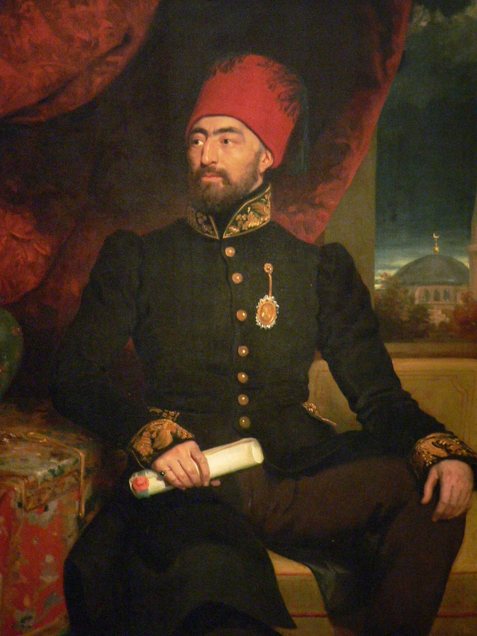 Sidki Efendi Turkish Ambassador to the Court of Saint James British 19th century oil