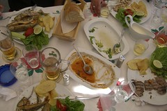 hors d'oeuvre(0.0), buffet(0.0), meal(1.0), dinner(1.0), lunch(1.0), breakfast(1.0), supper(1.0), brunch(1.0), culinary art(1.0), food(1.0), dish(1.0),