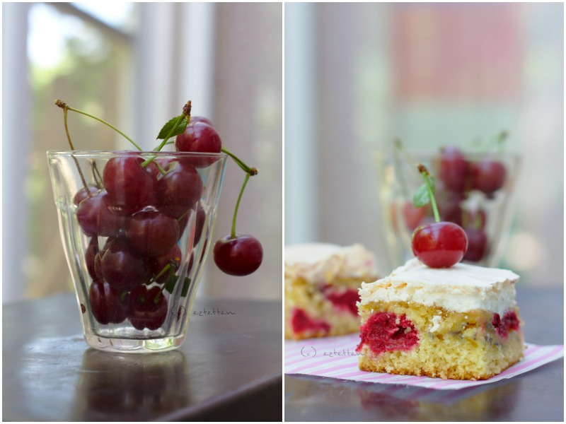 sour cherry and sponge cake