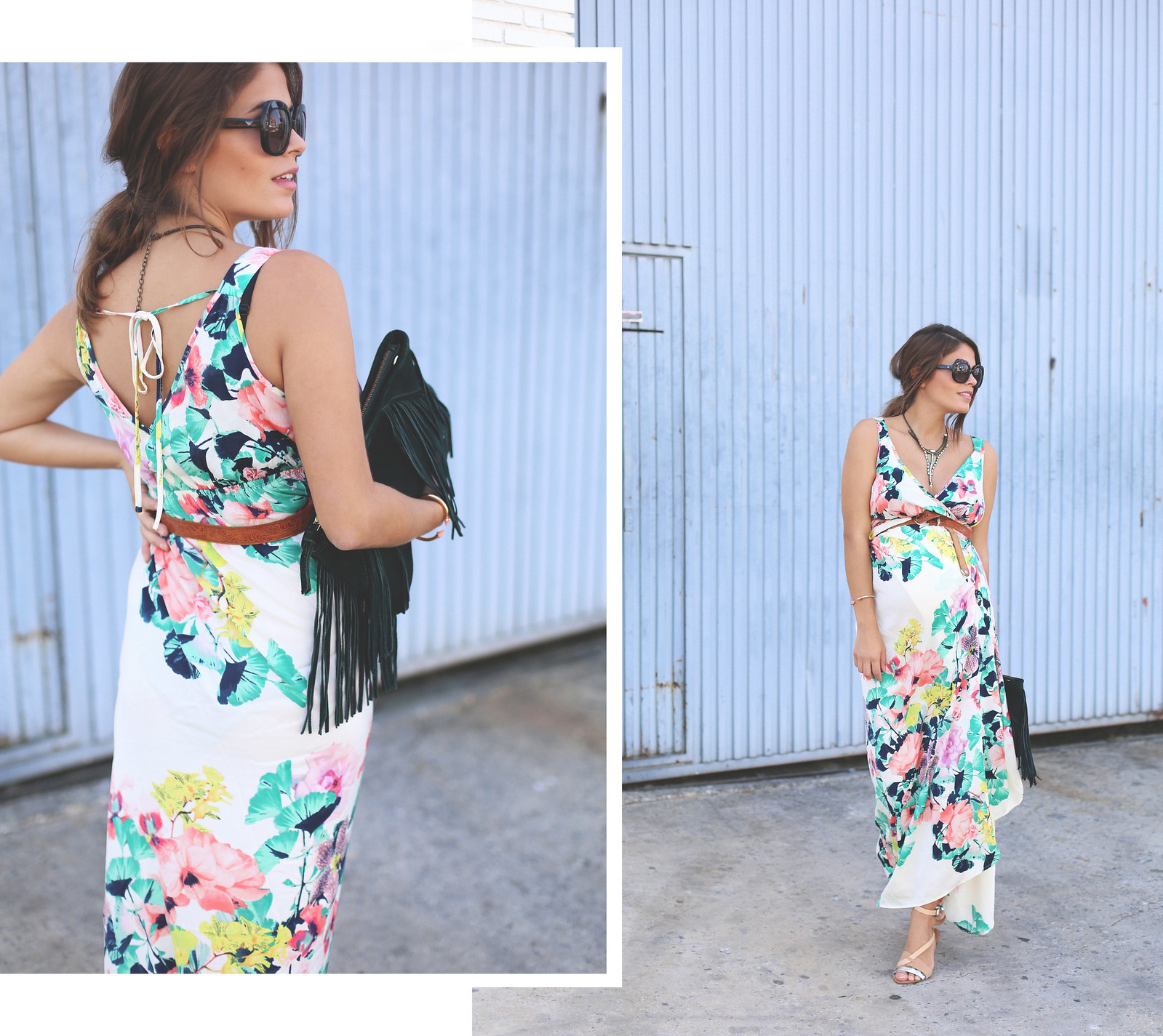 1. long floral boho folk dress - jessie chanes - pregnancy