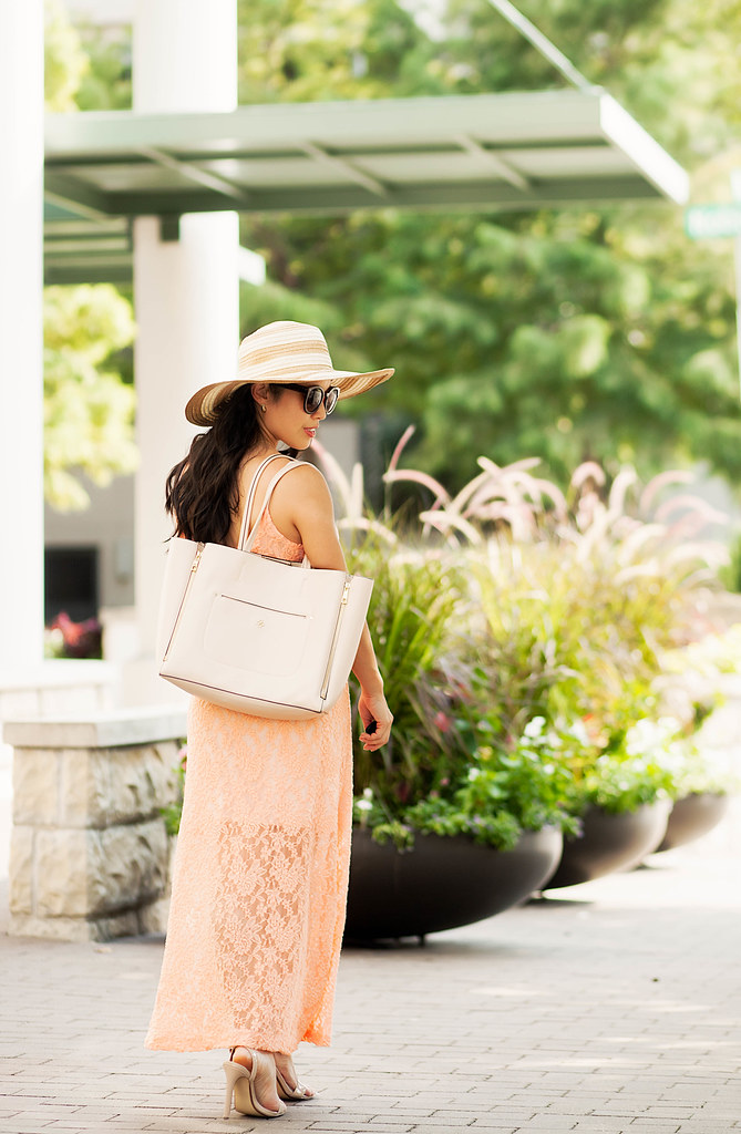 cute & little blog | petite fashion | ami clubwear peach crop top lace maxi skirt dress, floppy sun hat, alex and ani bracelets | summer outfit
