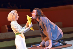 Sian Thomas (Mrs Grace) and Hugh Skinner (Block) in The Trial at the Young Vic. Photo by Keith Pattison