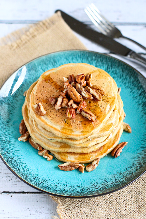 Whole Wheat Zucchini Pancakes...124 calories and 3 Weight Watchers PP for 3 tasty bites a couple of these fiber-filled pancakes!   cookincanuck.com #healthy #recipe