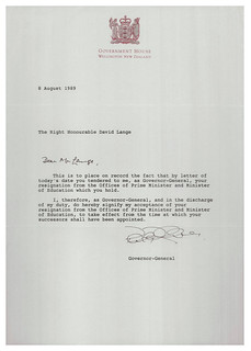 Letter accepting resignation of David Lange as Prime Minister - August 1989