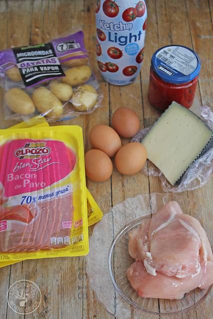 Pastel de bacon de pavo, pollo y tortilla (3)