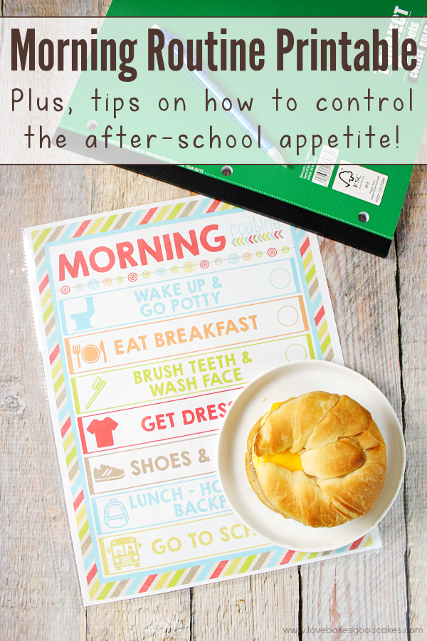 With the kiddos heading back-to-school, you can make mornings more manageable with this FREE Morning Routine printable! Plus, I'm sharing tips on how to control the after-school appetite! #fuelforschool #ad