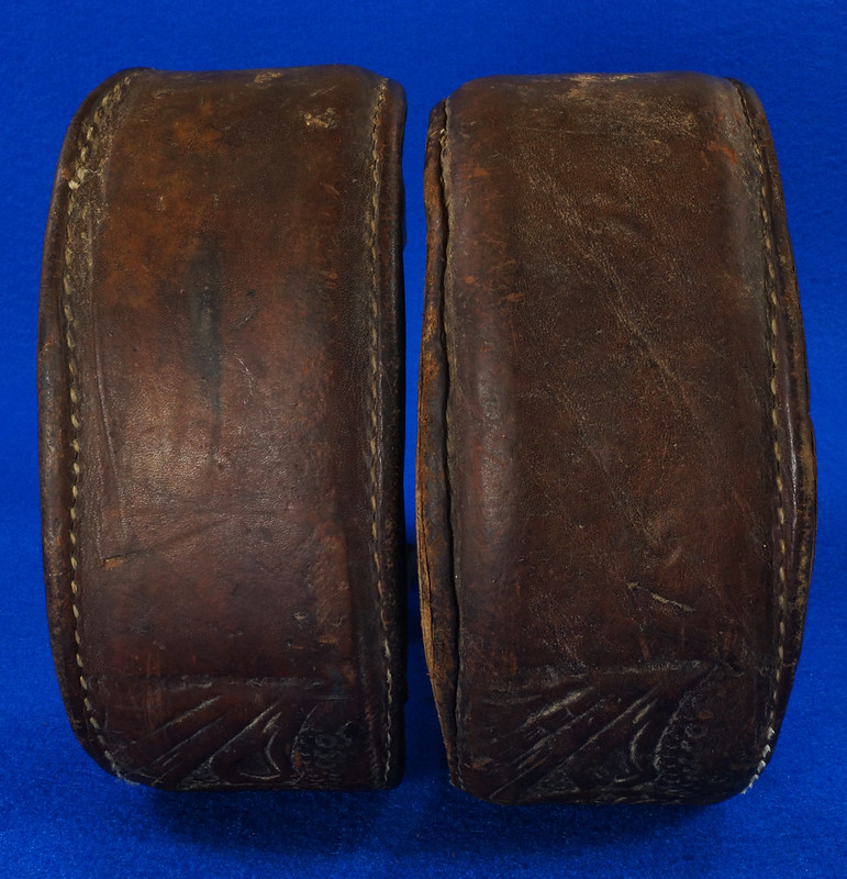 RD14952 Vintage Pair of Leather Over Wood Stirrups DSC07355