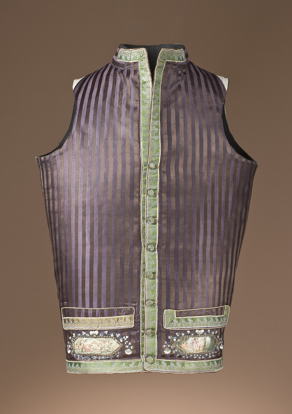 1790. Europe. Silk satin with silver-metallic and polychrome-silk thread and silver sequins. LACMA
