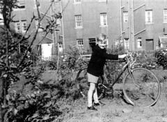 1961 - Me with Holdsworth (I think) bike, Back Gardens, 36 Boswall Quadrant, Edinburgh, Scotland about 1961