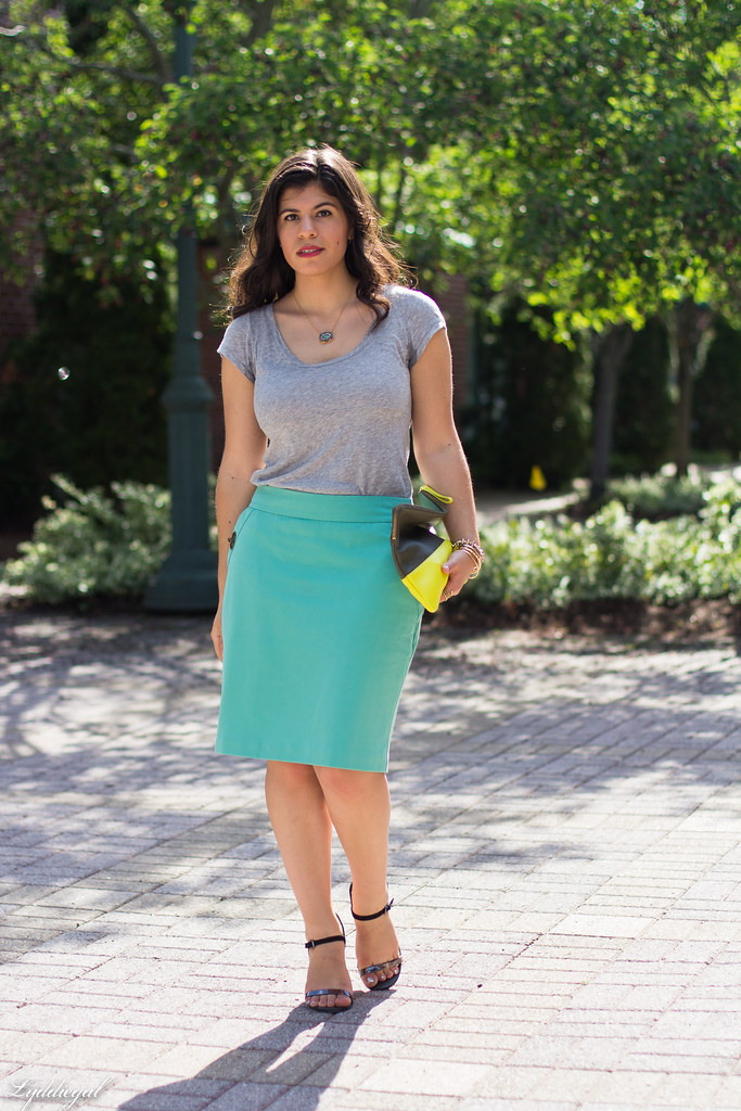 mint green pencil skirt, grey tee, neon clutch.jpg