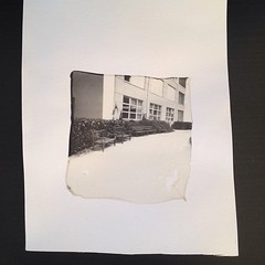 Emulsion film transfer on watercolour paper. Picture taken on a Polaroid Impossible camera and the print is carefully/delicately separated from the protective film and developing chemicals. #royalphotographicsociety #photography #filmphotography #learntso