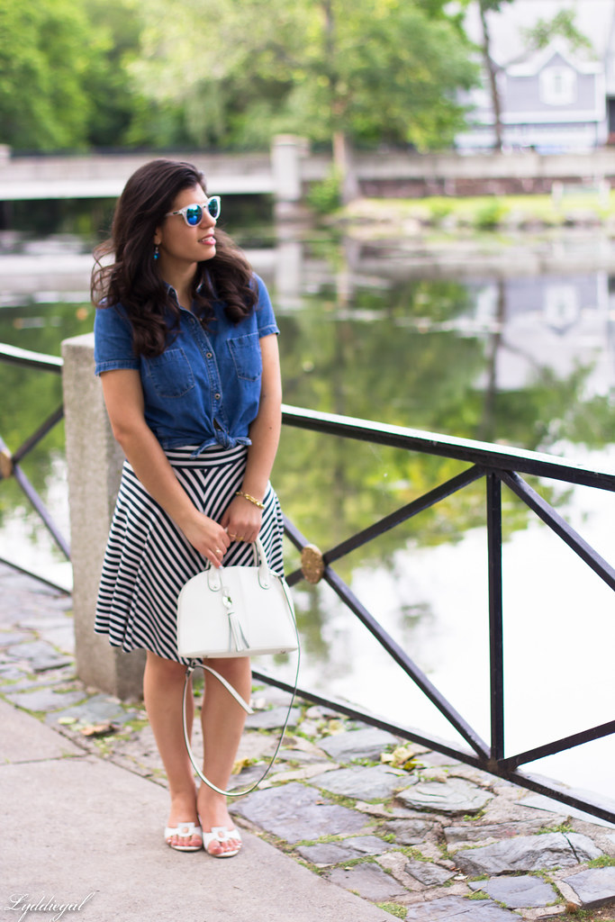 chambray shirt, striped skirt, white sandals.jpg