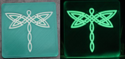 3D Printing - Glowing Celtic Dragonfly Coaster (Green) - Before After