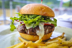 Burger w/ Andouille Sausage, peppers, onions, arug…